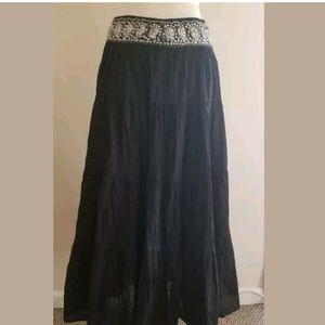 BCBGMAXAZRIA Black Cotton Maxi Skirt Size S